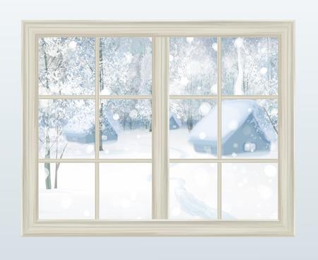 Okno z widokiem na wektor śnieżnym tle.