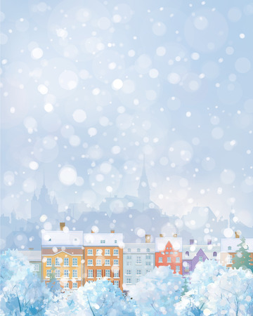 europe cities: Vector winter cityscape.