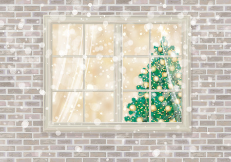 Vector  house window with Christmas tree.