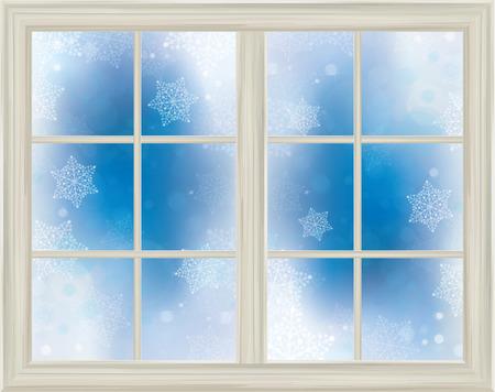 white window: Vector marco de la ventana en el fondo cubierto de nieve.