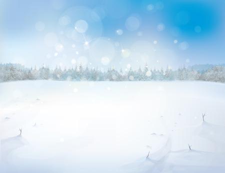 森林の背景を持つベクトル雪風景です。  イラスト・ベクター素材