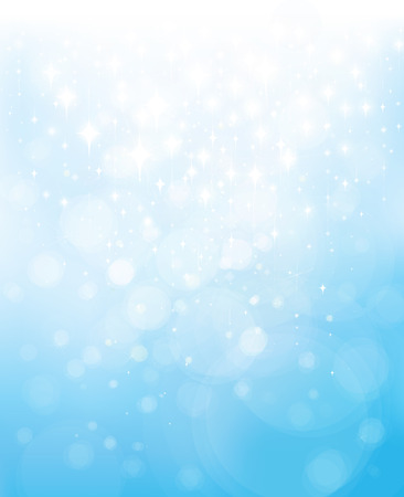Vector abstract blue bokeh stars background.