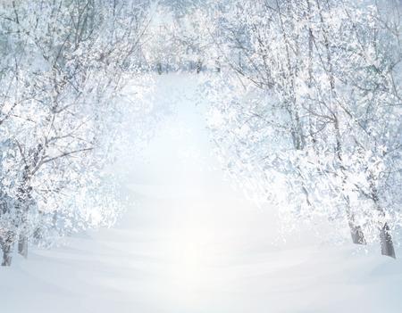 Vector winter sneeuw landschap. Stock Illustratie