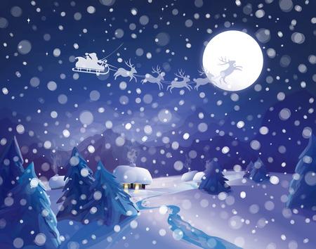 Vector Santa Claus Sleigh on sky background, winter night scene. Vector