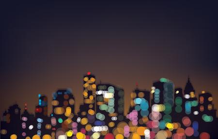 나뭇잎 밤 도시 배경.