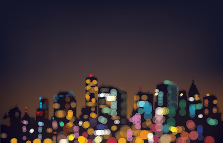 bokeh night city background. Vector
