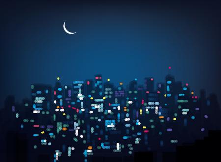 Vector bokeh night city background.