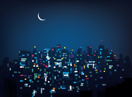 Vector bokeh night city background.