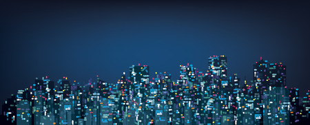 Vector bokeh night city background. Vector