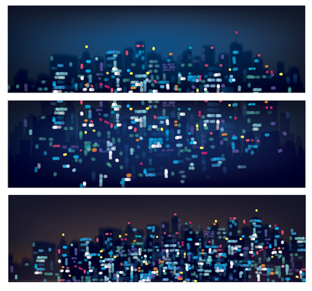 city scape: Vector abstract bokeh night city banners.