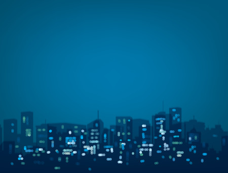 Vector bokeh night city background in blue colors.  イラスト・ベクター素材