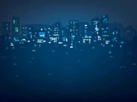 Vector bokeh night city background in blue colors. Stock Illustratie