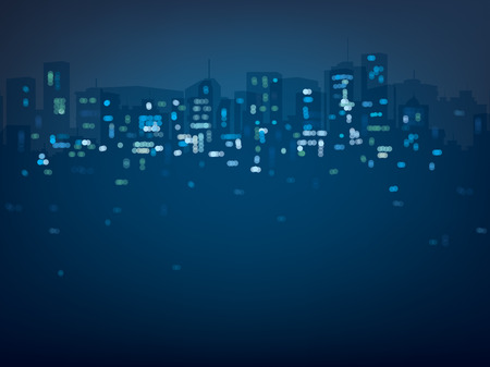 Vector bokeh night city background in blue colors. Ilustração