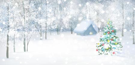 Vector kerstboom in besneeuwde bossen. Stock Illustratie