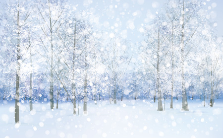 Vector winter snow landscape.