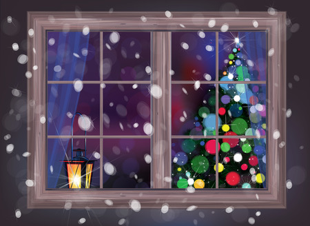 snowfall: Vector winter night scene of window with Christmas tree and lantern.