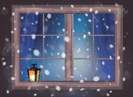 winter scene: Vector winter night scene of window with lantern.