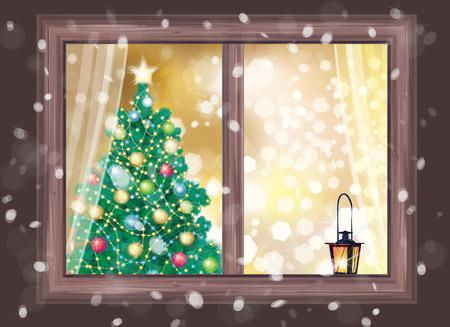 Vector winter night scene of window with Christmas tree and lantern.