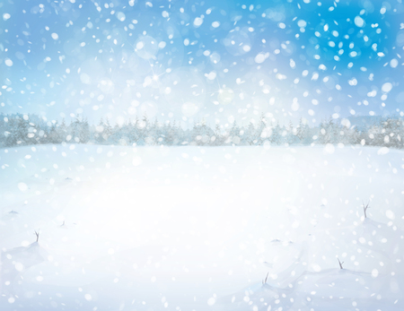 Winter snowy landscape with forest background. Stock Photo