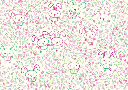 flora: seamless cute pattern, rabbits and flora.