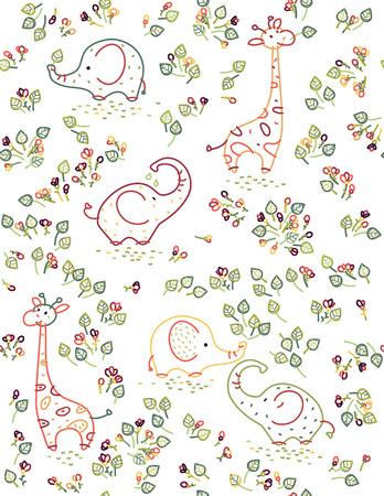 seamless cute animals pattern, elephants, giraffes and flora. Stock Illustratie