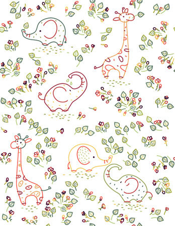 seamless cute animals pattern, elephants, giraffes and flora. Çizim