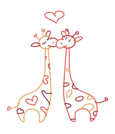 Vector  cute giraffes in love. Vector