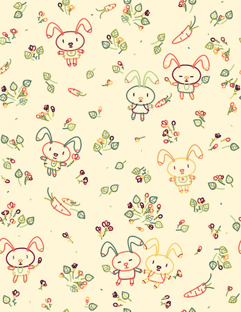 flora: Vector seamless cute pattern, rabbits and flora.