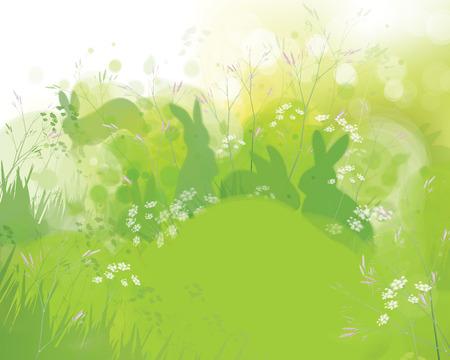 sfondo natura: conigli in erba, primavera sfondo della natura. Vettoriali