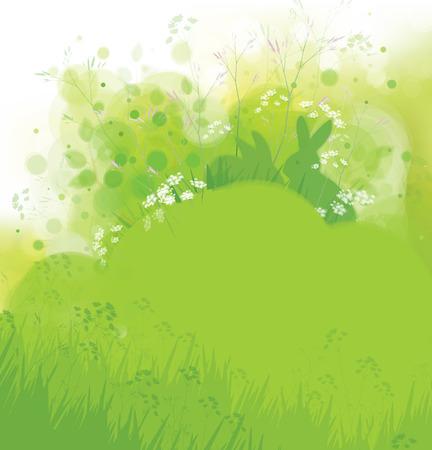 sfondo natura: Conigli vettoriali in erba, primavera sfondo della natura.