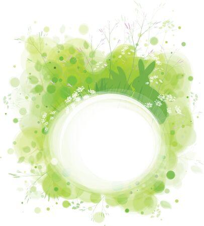 sfondo natura: Telaio di primavera vettoriale, conigli in erba, sfondo verde.