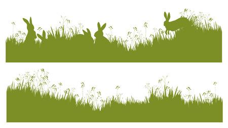 lapin silhouette: Lapins Vector silhouette en fond d'herbe.
