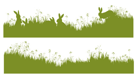 easter flowers: Vector silhouette rabbits in grass background.