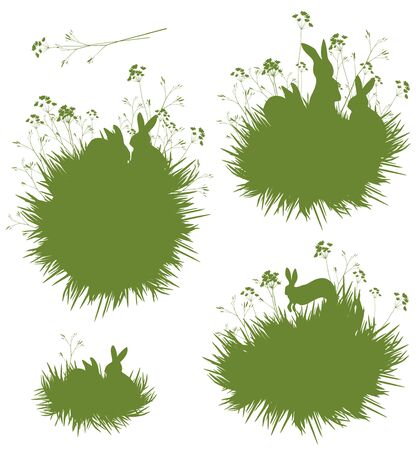 lapin silhouette: Vector silhouettes lapins dans l'herbe. Illustration