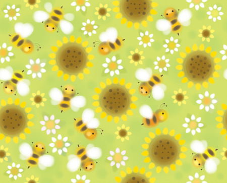 bee on white flower: Vector seamless cute pattern flowers and bees, soft, blurred effect. Illustration