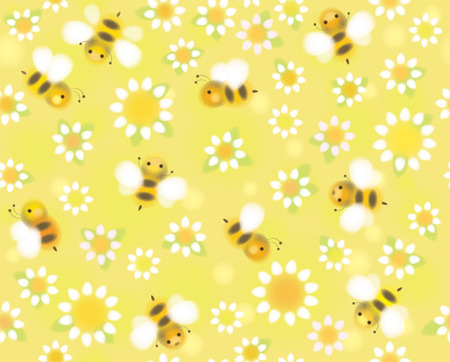 bee on white flower: Vector seamless cute pattern chamomiles and bees.