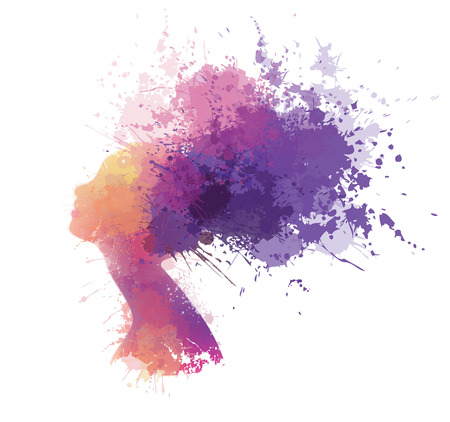 woman profile: Vector abstract colorful woman portrait. Illustration
