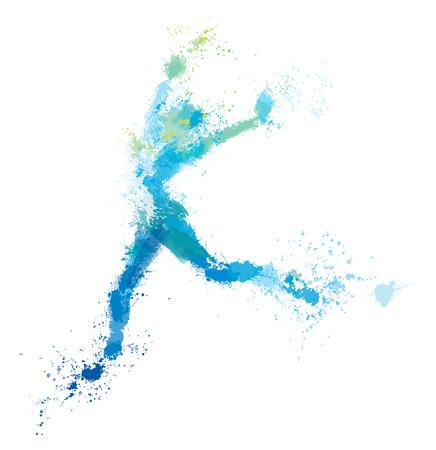 Vector jumping woman, splash artwork. Stock Illustratie