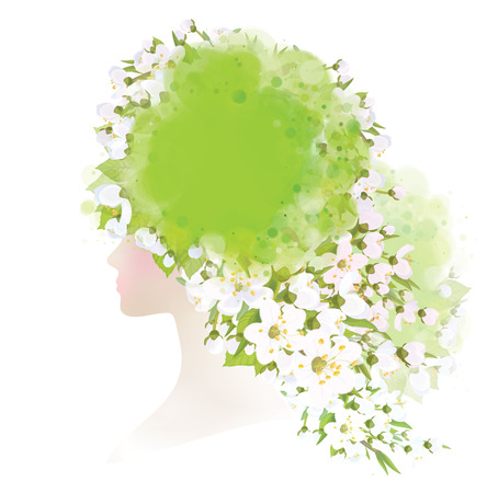 apricot tree: Vector beautiful  woman with  spring flowers on head. Illustration