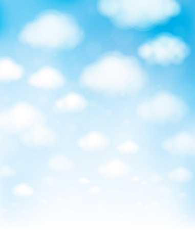 Vector blue sky with clouds.