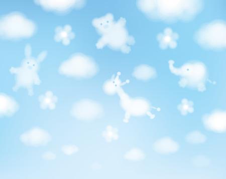 ciel nuages: Vecteur fond de ciel, animaux caricatures. Illustration