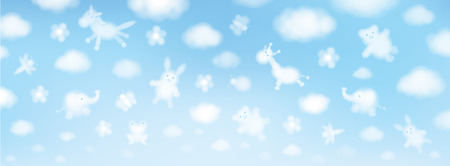 Vector sky background, cute animals cartoons. 矢量图像