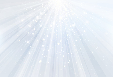 Vector blue background with rays, stars and lights. Illustration