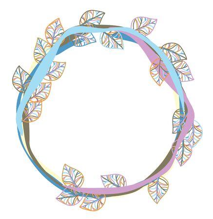 leaves frame: Aislado Vector hojas de colores marco.