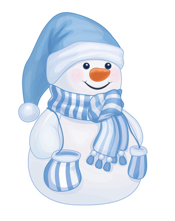 Vector  happy snowman cartoon isolated. Çizim