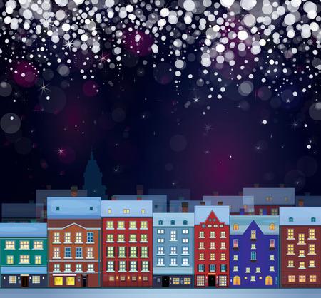 snow scape: Vector of winter wonderland cityscape, nightscene.