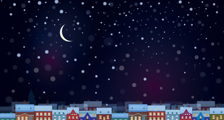 Vector of sky background with  cityscape night scene. Çizim