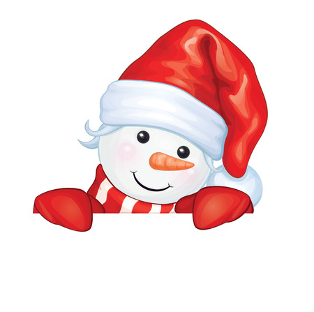 santa costume: Vector  happy snowman cartoon, hiding by blank, isolated. Illustration