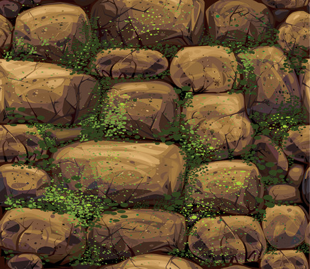 ashlar: Vector seamless texture of stones covered moss. Illustration