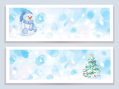 Vector winter glitter banners.